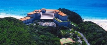 An aerial overview of the hotel