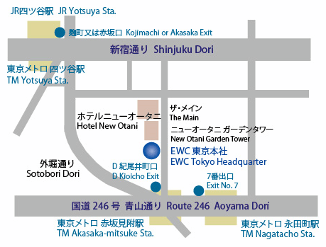 Map to East West Consulting Tokyo Office